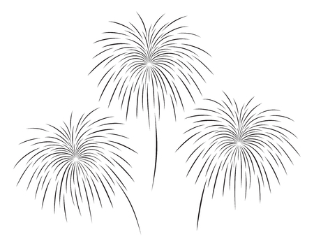 Vector illustration of fireworks set in black color on white background.