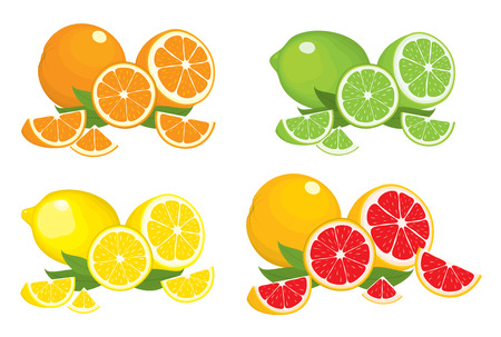 Collection of citrus products - orange, lemon, lime and grapefruit with leaves, isolated on white background. Vector set of whole fruits and slices. Colorful illustration for design. Ilustração