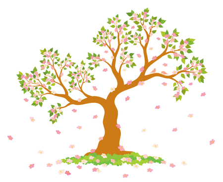 rich couple: Vector illustration of lush, blossom tree with green leaves, pink flowers and couple of lovely birds on white background. Illustration