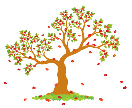 Vector illustration of lush, blossom tree with green leaves, red flowers and couple of lovely birds on white background.