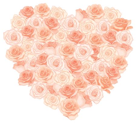 Vector illustration of realistic, detailed heart bouquet in peach color on white background. Illustration for design. Ilustração