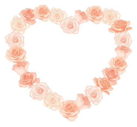Vector illustration of realistic, detailed heart shape frame of roses in peach color on white background. Illustration for design.