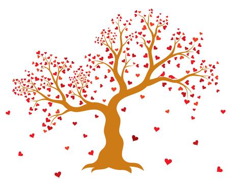 Vector illustration of decorative, abstract tree with red hearts and two birds on white background. Wall sticker.