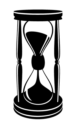 Vector illustration of vintage hourglass in black on white background