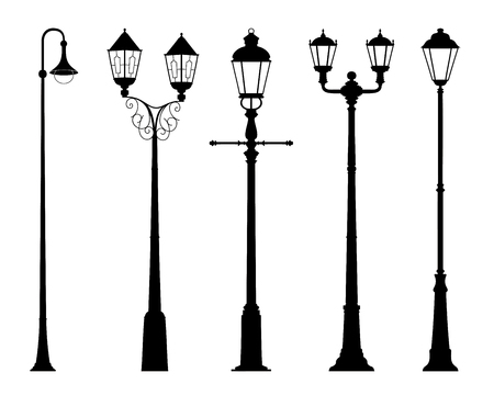Vector set of street lantern silhouettes in retro style isolated on white background. Wall sticker. Illustration for design. 일러스트
