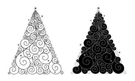 Vector illustration of Christmas tree on white background