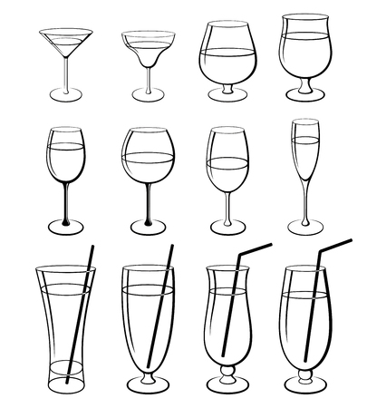 Vector set of isolated outline stemware and glasses 일러스트