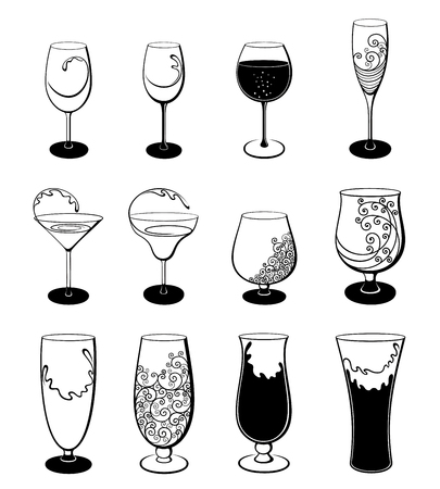 Vector set of stylized outline stemware and glasses