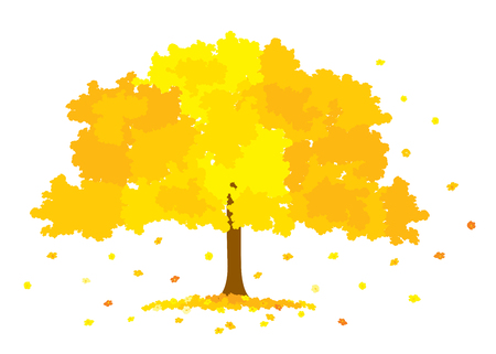 Vector illustration of lush golden tree with yellow flowers 일러스트