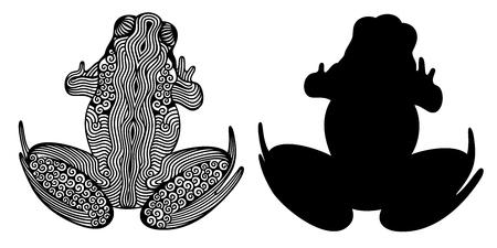 Vector illustration of outline decorative frog and frogs silhouette Ilustração