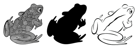 Vector illustration of outline, decorative frog and frogs silhouette Ilustração