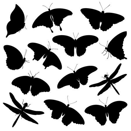 Vector set of isolated tropical butterflies and dragonflies silhouettes 일러스트