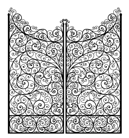 Vector illustration of outline detailed wrought iron gate