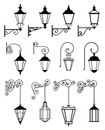 Vector set of outdoor wall lanterns in retro style