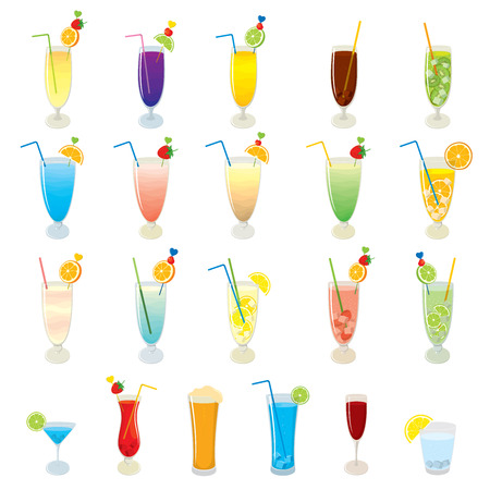 Vector set of cocktails, juices, drinks and mojito