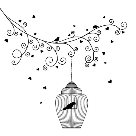 Vector illustration of a tree branch with hearts hanging cage