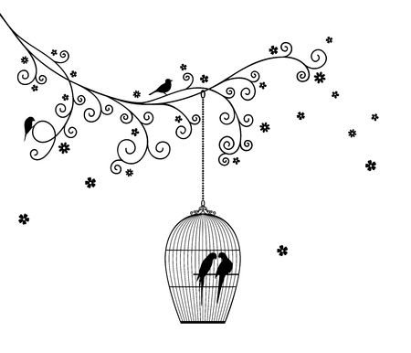 Vector illustration of tree branch, hanging cage, birds