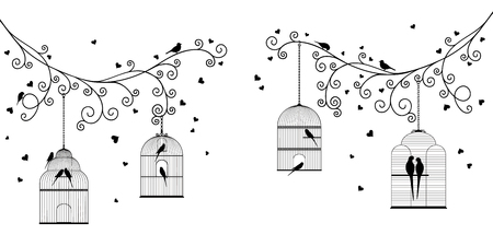 Vector illustration of tree branches, hanging cages, birds 일러스트