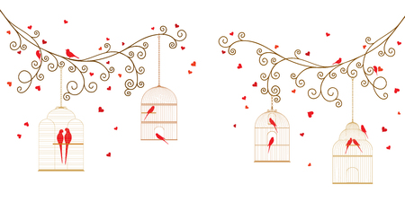 Vector illustration of tree branches with bird cages