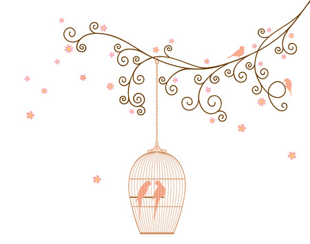 Vector illustration of a tree branch with bird cage 일러스트