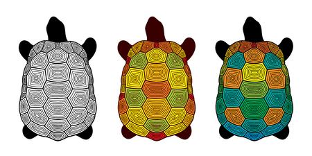 Vector set of stylized decorative turtles isolated