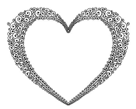 Vector illustration of outline heart frame for text 일러스트