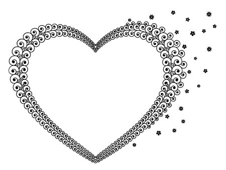 Vector illustration of heart lines with flowers, curly lines and swirls in black color. For text. Isolated, on white background.