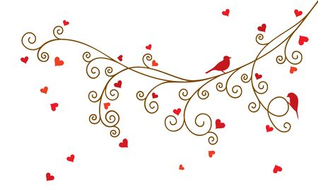 Vector illustration of Valentine tree branch