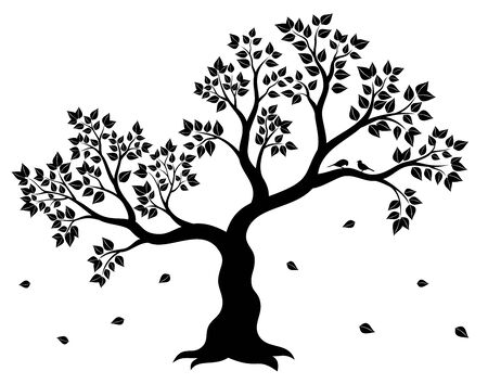 Vector illustration of tree in black