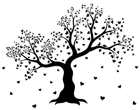 Vector illustration of tree in black color 일러스트