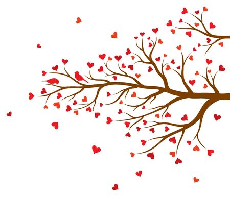 Vector illustration of tree branch with hearts