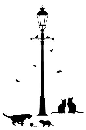 Vector illustration of street lantern and playing cats