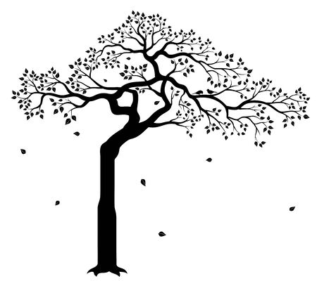Vector illustration of tree with leaves and two birds