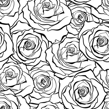 Vector seamless background of outline rose buds