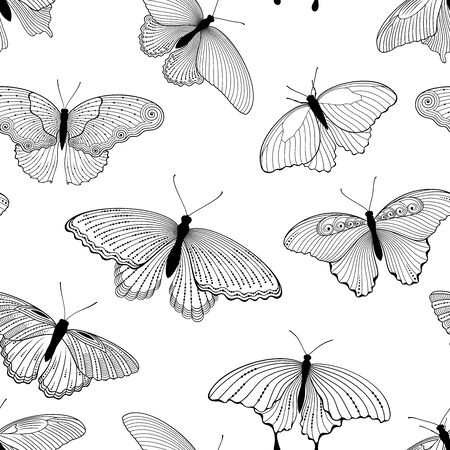 Vector seamless background of outline butterflies