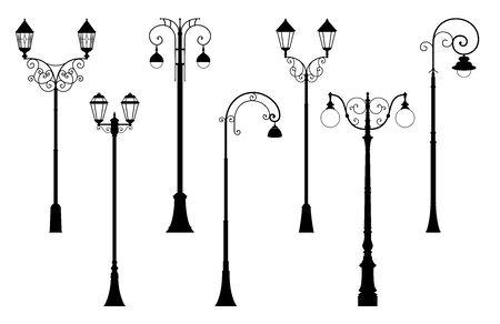Vector conjunto de siluetas de farolillos de calle en estilo retro Ilustración de vector