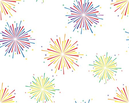 Vector seamless background of colorful fireworks on white background.
