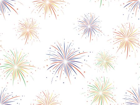 Vector seamless pattern of colorful fireworks on white background.
