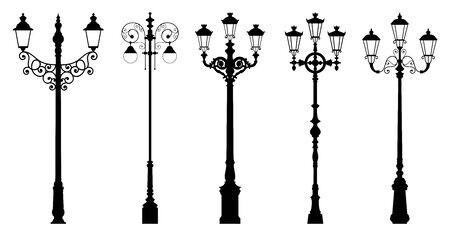 Vector set of street lantern silhouettes in retro style, in black color, isolated on white background.