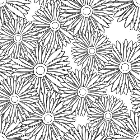 Vector seamless pattern of outline daisy flower buds in black color on white background.