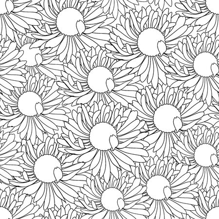 Vector seamless pattern of outline daisy flower buds front view in black color on white background.