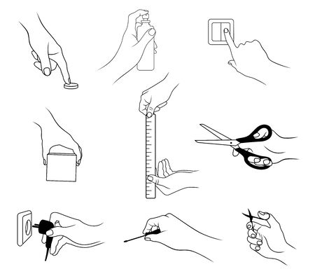 Vector set of outline, various hand actions and gestures, isolated, in black color, on white background. Ilustrace