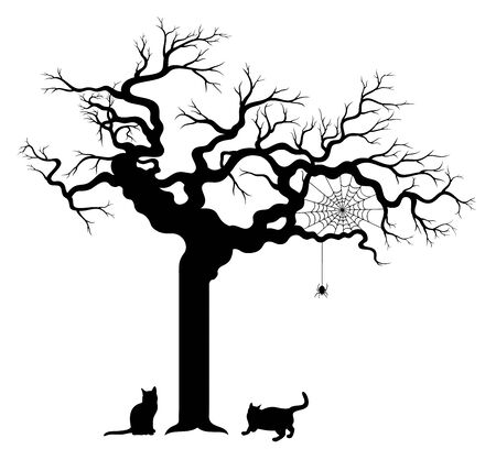 Vector illustration of Halloween tree with two cats and spider web, isolated, on white background. 일러스트