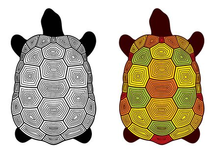 Vector set of stylized, decorative turtles - colorful and in black color, isolated, on white background. Illustration for design. 일러스트