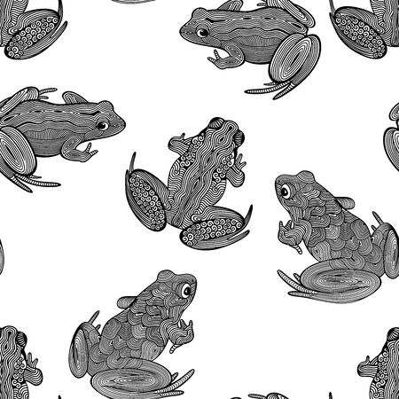 Vector seamless pattern of various, outline, decorative, frogs, isolated, in black color on white background. 일러스트