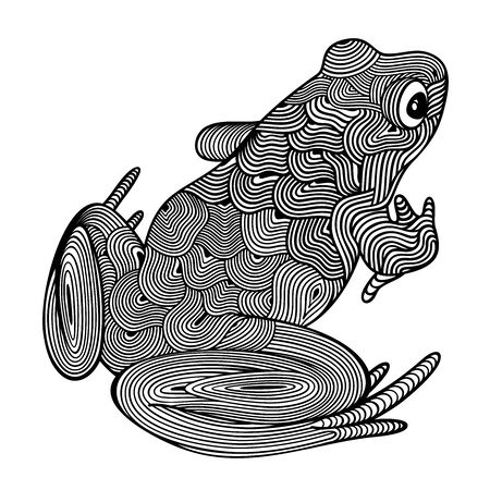Vector illustration of outline, decorative sitting frog, in black color, isolated, on white background. Illustration for design. 일러스트