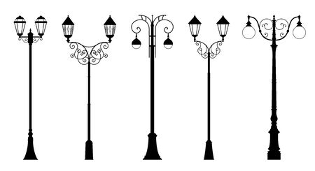 Vector set of decorative street lantern silhouettes in retro style, in black color, isolated, on white background.