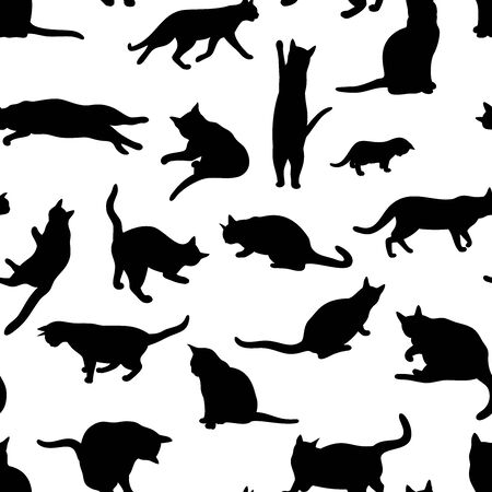 Vector seamless pattern of isolated cat action silhouettes in black color, on white background.