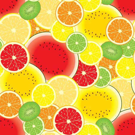 Vector seamless pattern of various, realistic, round, half cut citrus fruits, watermelon and kiwifruit.  イラスト・ベクター素材