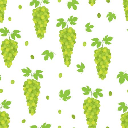 Vector seamless pattern of realistic, fresh, green grape bunches with leaves, on white background.